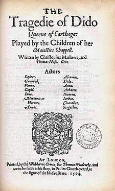 Title page of the 1594 first edition of Dido, Queen of Carthage Dido1594titlepage.jpg