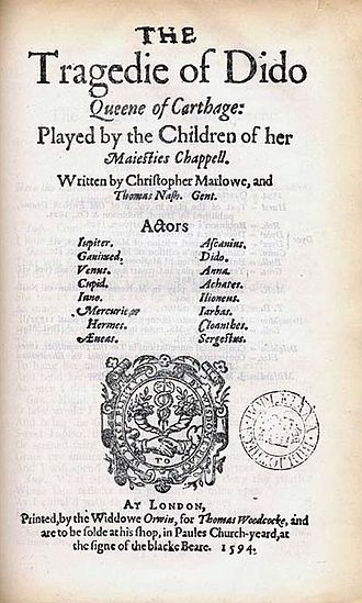 University Wits - title page of Dido, Queen of Carthage, co-written by Marlowe and Nashe