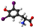 Diiodotyrosine zwitterion 3D ball.png