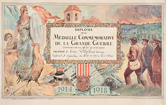 "1914–1918 Commemorative war medal (France) - Certificate of award for the ""Médaille Commémorative de la Grande Guerre"" to a corporal in the Algerian Tirailleurs."