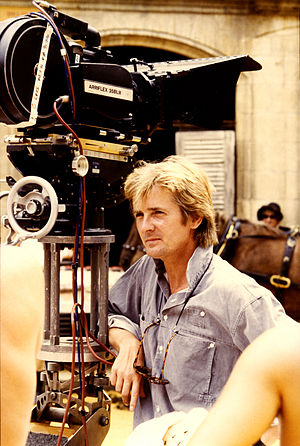 Franc Roddam - Director Roddam with an Arriflex film camera on the set of The Bride (1985)