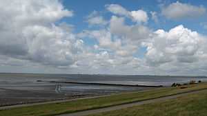 Bay of Meldorf - View over the northern part of Meldorf Bay from Speicherkoog Harbour looking towards Büsum