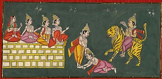 Dnyaneshwar - The siblings Muktabai, Sopan, Dnyaneshwar and Nivruttinath seated on the flying wall greet Changdev seated on a tiger. In the centre, Changdev bows to Dnyaneshwar.