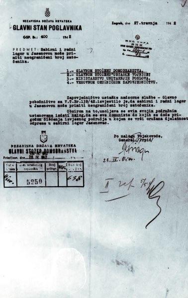 Dopis Glavnog stana Poglavnika od 27. aprila 1942