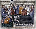 Douce Apocalypse - Bodleian Ms180 - p.037 The people rejoice at the death of the witnesses.jpg