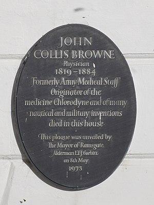 John Collis Browne - Dr Collis's plaque on 22 Victoria Road, Ramsgate, Kent.