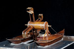 "Dredging - Reconstruction of the mud-drag by Leonardo da Vinci (Manuscript E, folio 75 v.) on exhibit at the Museo nazionale della scienza e della tecnologia ""Leonardo da Vinci"", Milan."