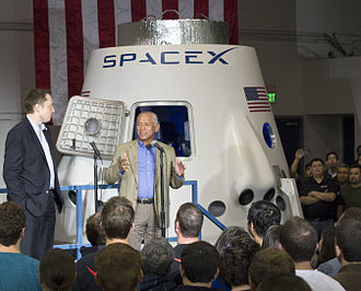 Commercial Crew Development - The construction of a Dragon crew mock-up was one of SpaceX's CCDev 2 milestones, it is seen here during an event