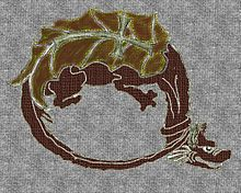 A dragon forming a circle with its tail on its neck