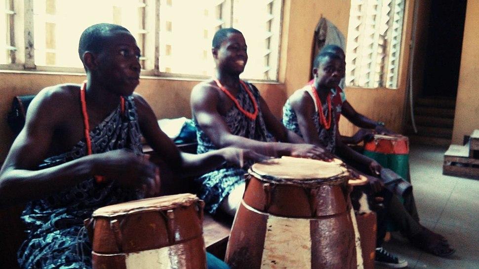 Drummers of traditional Gbedu drum in Yoruba land of Nigeria