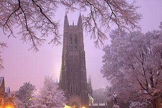 Duke Chapel - The chapel stands tall in the early morning sky