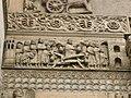 Duomo di fidenza, sculture a dx del portale c.le, san donnino salva una gravida dal crollo di un ponte.JPG