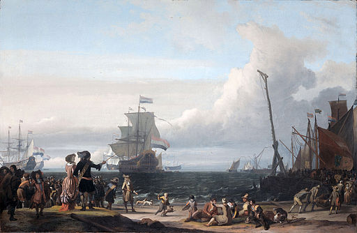 Dutch ships in the roadstead of Texel (the 'Gouden Leeuw' of Cornelis Tromp in the center)(Ludolf Backhuysen, 1671)