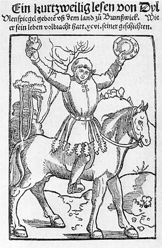 Till Eulenspiegel - The prankster Till Eulenspiegel, depicted with owl and mirror (title page of the Strasbourg edition of 1515)