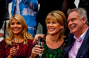 Ruth Langsford - Langsford (centre) with husband Eamonn Holmes (right) and Holly Willoughby (left).