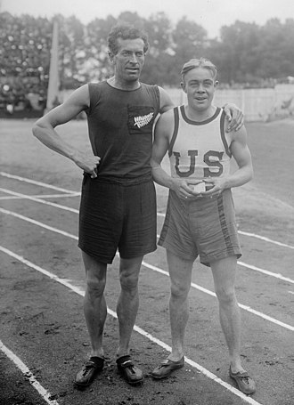 Athletics at the Inter-Allied Games - Daniel Mason and Early Eby, the top two in the 800 m, at the Stade Pershing
