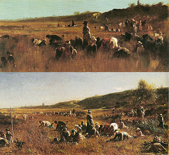 Eastman Johnson - Comparison of Cranberry Pickers, Nantucket (1879) and The Cranberry Harvest, Island of Nantucket (1880). Both are oil on canvas