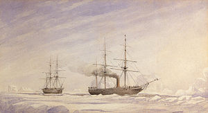 Melville Bay - View of two ships in Melville Bay by Edward Augustus Inglefield.