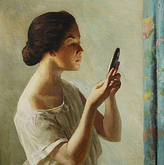 Edward Simmons (painter) - Image: Edward Simmons, The Reflection, oil on canvas