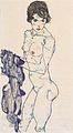 Egon Schiele - Stehender weiblicher Akt mit blauem Tuch - 1914.jpeg