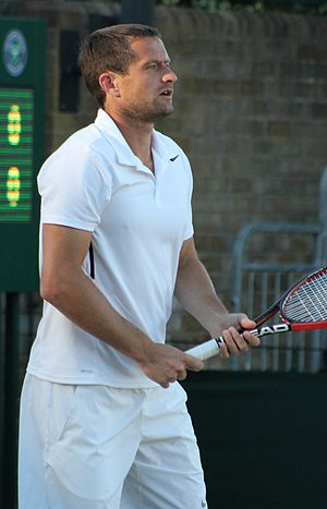 Mikhail Elgin - Mikhail Elgin playing at Wimbledon 2014