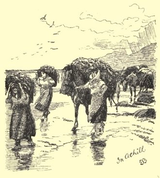 "Achill Island - ""Our Escort Into Glenaragh"", from the sketch book and diary of Elizabeth Thompson."