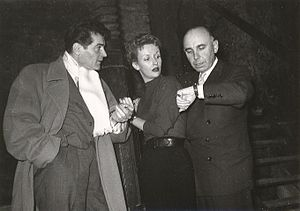 Francis Lederer - Francis Lederer, Joan Camden and Emil-Edwin Reinert during production of Stolen Identity, Vienna, 1952