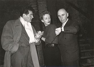 Francis Lederer - Francis Lederer, Joan Camden and Emil-Edwin Reinert during production of Stolen Identity, Vienna, 1952