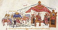 Romanos III encamped near Azaz, depicted in the Madrid Skylitzes