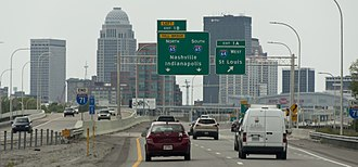 Interstate 71 - Southern end of Interstate 71 in Downtown Louisville