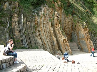 Geologic record - Strata turned sideways by orogenic forces near San Sebastián, Spain