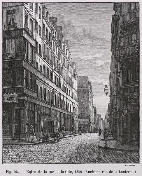 Fichier:Entrée de la Rue de la cité, 1850 - Ancienne Rue de la lanterne.jpg