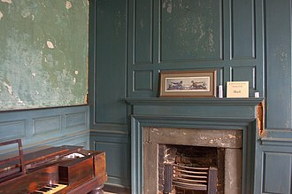 Eppington - Simple architrave framing with a plain frieze and shelf above on the mantle. The off-center position of the fireplace is shown with the different widths of the side panels.
