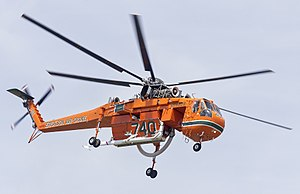 Erickson Air-Crane (N6962R) Sikorsky S-64E departing Wagga Wagga Airport (cropped).jpg