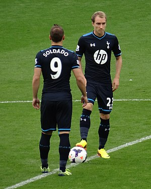 Roberto Soldado - Soldado and Christian Eriksen kicking off for Tottenham against Cardiff City