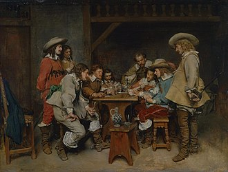 Piquet - A Game of Piquet, imaginary 17th century scene painted in 1861 by Jean-Louis-Ernest Meissonier (1815–1891), National Museum of Wales