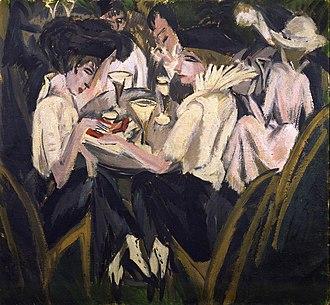 Brücke Museum - Ernst Ludwig Kirchner: In the garden of the coffee-house (in German: Im Cafégarten, 1914)