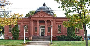 National Register of Historic Places listings in Delta County, Michigan - Image: Escanaba MI Carnegie Library