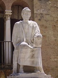 Statue of Averroes, an Islamic philosopher from Al-Andalus whose commentaries on Aristotle were a powerful influence on Scholasticism and Saint Thomas Aquinas[1]