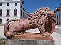 Esterházy mansion, Lion with CoA statue, 2020 Pápa.jpg
