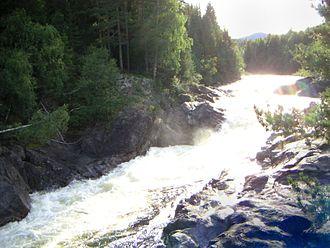 Etna (river) - Etna river slightly north of the rock carvings at Møllerstufossen