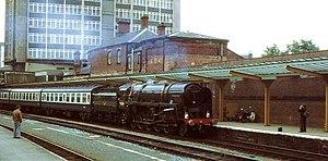 BR Standard Class 9F 92220 Evening Star - Evening Star at Harrogate railway station in 1978.