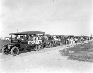 Hialeah, Florida - Group of tour buses sponsored by real estate developers in Hialeah in 1921.