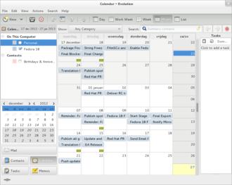 Evolution (software) - Evolution's calendar software