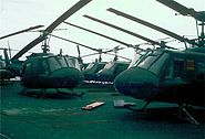 Ex-VNAF Hueys on deck of USS Midway