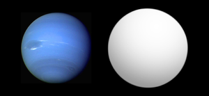 Kepler-11e - Size comparison of Kepler-11e (gray) with Neptune.