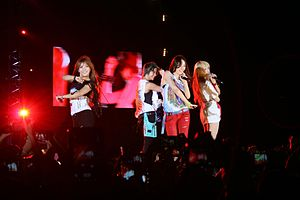 F(x) (band) - f(x) (with the absence of Sulli, who was filming at the time) performing at the Yeosu Expo K-Pop concert in 2012