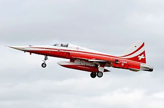 Patrouille Suisse - Northrop Corporation F-5E Tiger II of the Swiss Air Force arrives at the 2016 RIAT, England