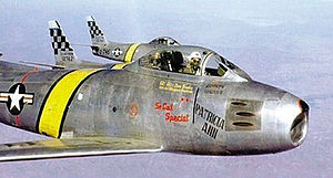 51st Fighter Wing - North American F-86E-10-NA Sabres of the 25th Fighter-Interceptor Squadron (51st) FBG over Korea. Identifiable is serial is 51-2742.