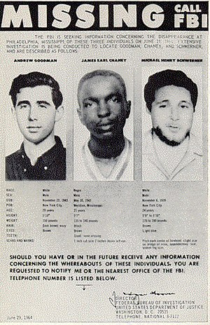 Murders of Chaney, Goodman, and Schwerner - Missing persons poster created by the FBI in 1964, shows the photographs of Goodman, Chaney, and Schwerner.